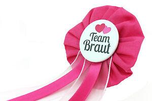 Orden-Team-Braut-JGA-Herz-Anstecker-Button-Junggesellinnenabschied-pink-schwarz