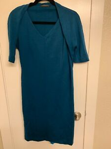 PIAZZA-SEMPIONE-Teal-Blue-Stretchy-Sheath-Wool-Dress-V-Neck-1-2-Sleeve-size-6
