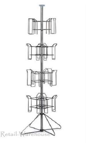 Literature Rack 4-Tier Floor Standing Chrome 64 H 16 Pockets 8 ½ x 11 x 2