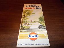 1963 Gulf San Antonio/Austin Vintage Road Map