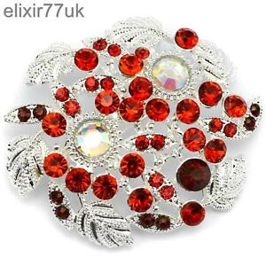 f01792ca067 NEW LARGE SILVER FLOWER BROOCH RED DIAMANTE CRYSTAL WEDDING PARTY ...