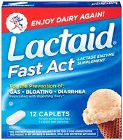 3 Pack Lactaid Fast Act Lactase Enzyme Supplement 12 Caplets Each on sale