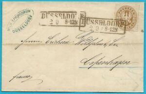 La-Prusse-Freimarke-1861-lettre-Porto-correctement-affranchi-de-Dusseldorf