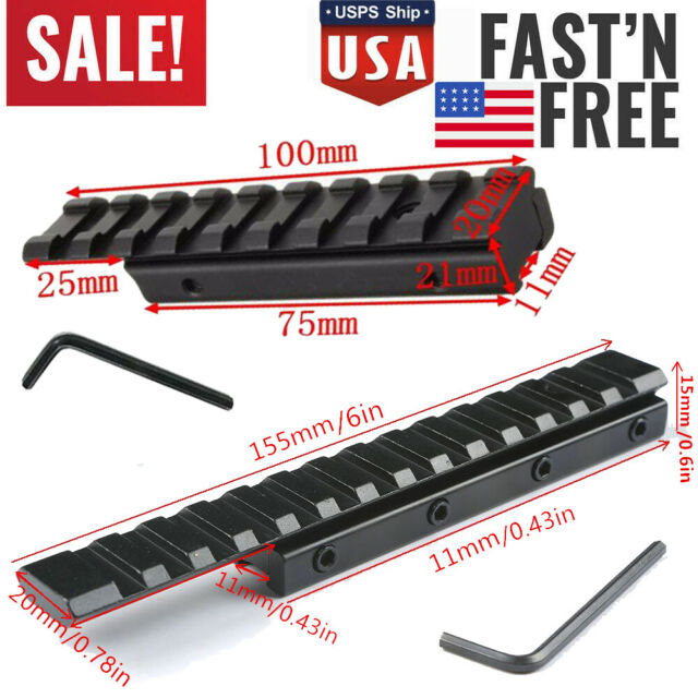 USA 11mm To 20mm Picatinny Rail Adapter 100mm Extend Dovetail Scope Mount