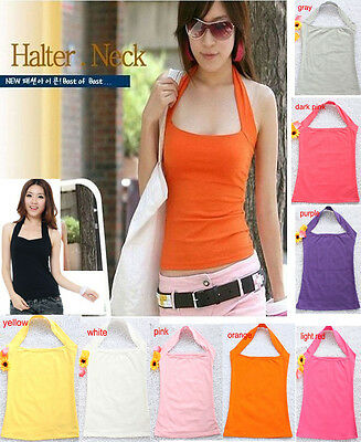 10 Colors Women Tops Tees Cotton Halter Vests Tank Tops Cami Strapless T-shirts
