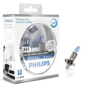 Philips-H1-White-Vision-4300K-Xenon-Effect-60-mehr-Licht-2er-Set-12258WHVSM