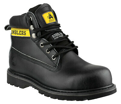 Amblers FS199 Slip-Resistant Black Safety Work Boot with Scuff-Cap Size UK 8