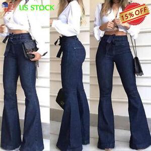 Women's High Waist Denim Jeans Stretch Bell Bottom Pants Flare Wide Leg Trousers