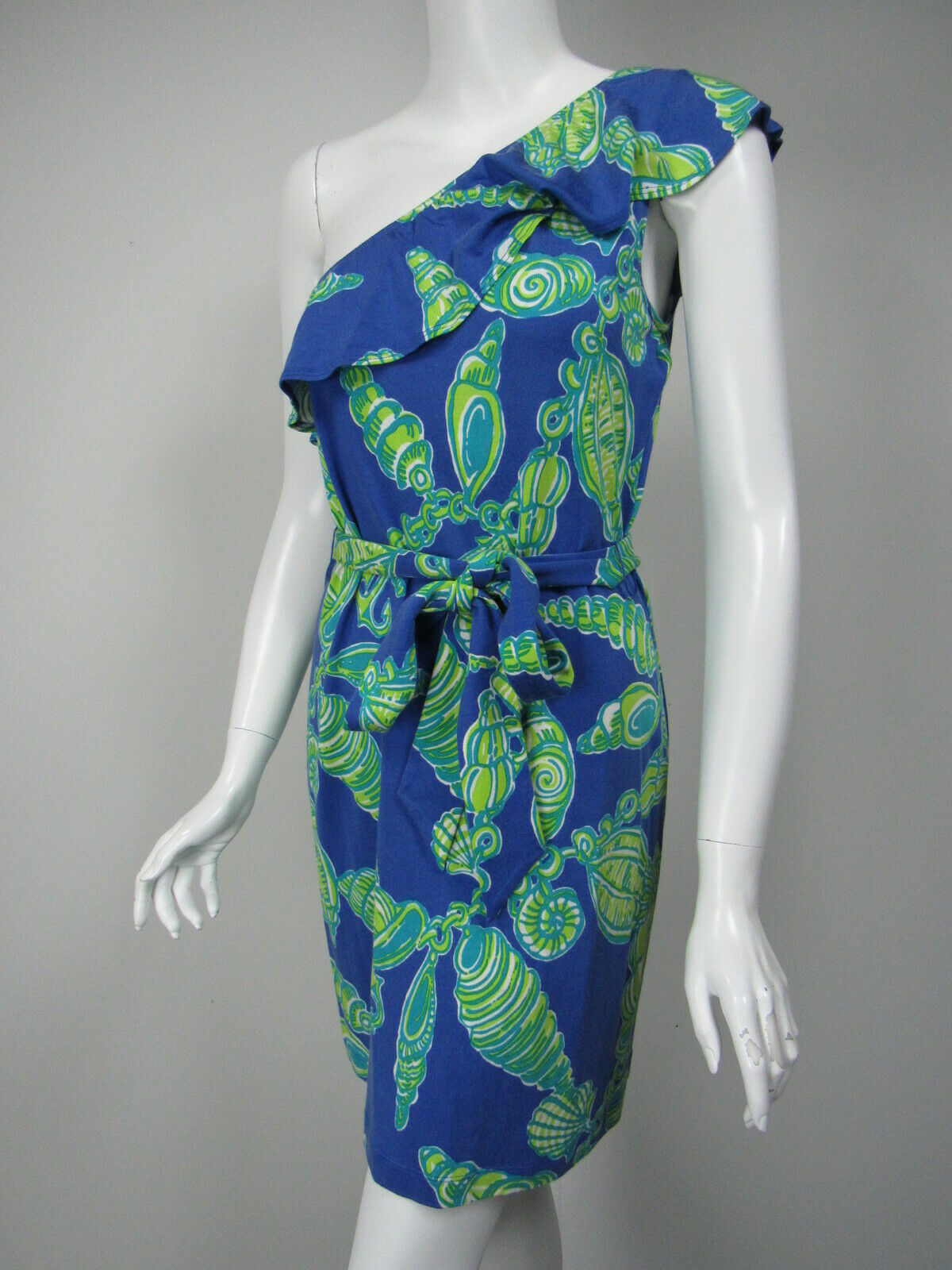 LILLY PULITZER PULITZER PULITZER Robyn bluee Lime Silk Cotton Jersey Ruffle One Shoulder Dress sz M d25e4f