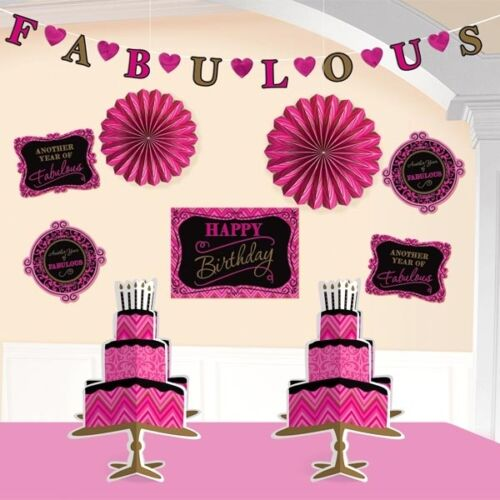 Raumdeko-Set Happy Birthday Fabulous in Pink 10 wunderschöne Teile