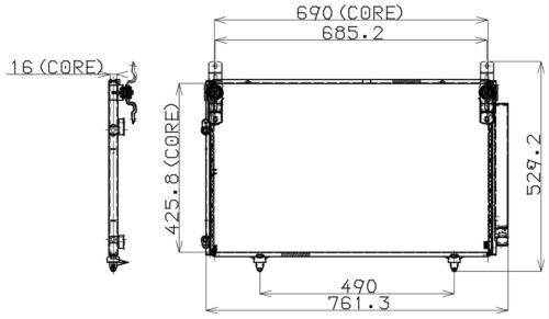 A//C Condenser 477-0550 Denso For Toyota Highlander 2001-2007