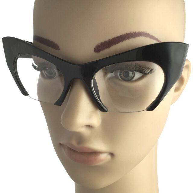 Large Vintage Big Cat Eye Rasoir Half Frame Cut Off Sunglasses Razor Glasses NEW