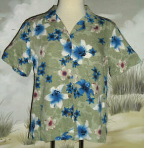 CARIBBEAN JOE Hawaiian Shirt Olive Green Blue White Red Floral Size Medium LN