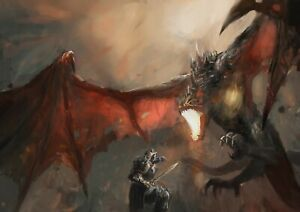 A1-Dragon-Fight-Fantasy-Painting-Poster-Art-Print-60-x-90cm-180gsm-Gift-14092
