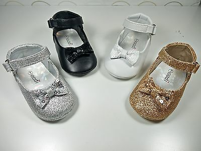 Little Angel Toddler Girl Wedding GlitterBowtie Crib Shoes