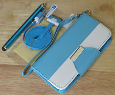PU Leather Flip Pouch Wallet Stand Case Cover For iPhone 4 4S - Blue