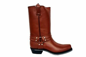 Grinders Renegade Hi Tan Cajeta Unisex Leather Cowboy Western Bikers High Boots