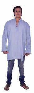 Indian-100-Cotton-Men-039-s-Shirt-Kurta-Ethnic-Gray-Solid-Color-Casual-Plus-Size