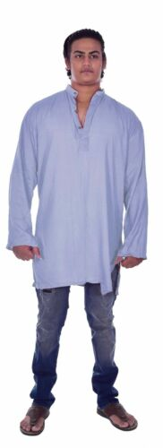 Indian 100/% Cotton Men/'s Shirt Kurta Ethnic Gray Solid Color Casual Plus Size