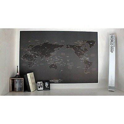 """World Black map large poster print picture home/room decor wall art New 36 x 24"""""""