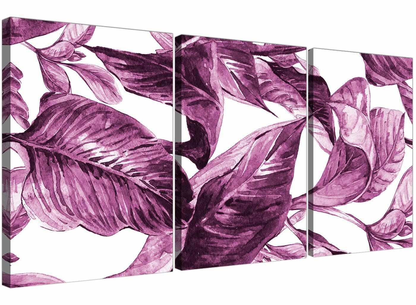Plum Melanzana Bianco Tropical foglie a Muro Art-Multi 3 Set - 3319