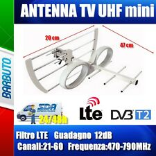 ANTENNA TV DIGITALE TERRESTRE HD MINI UHF 12dB, ANTI INTERFERENZE LTE