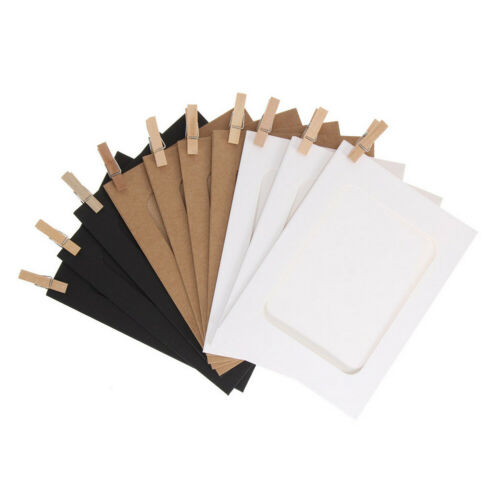 PAPER PHOTO FRAME DIY WALL ART PICTURE HANGING ALBUM CLIPS ROPE SET 3//5//6INCH