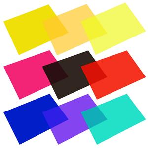 eBoot 9 Pieces Gel Filter Transparent Color Film Plastic Sheets Correction Light