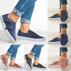 Women-Mens-Classic-Canvas-Flats-Shoes-Fashion-Casual-Work-Loafers-Slip-On-Zipper