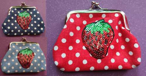 Cute Polka Dot Coin Purse Sequin Red Strawberry Rockabilly Kitsch Retro Girls