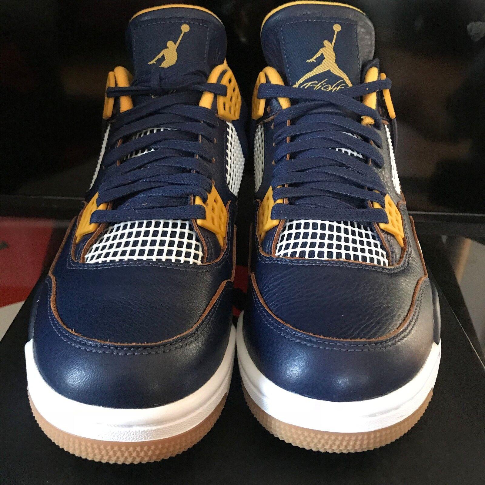 Nike air jordan 4 iv retrò 308497-425 schiacciata da sopra il blu scuro, oro sz
