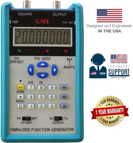 GME FG-3010 10MHz Portable DDS Function Generator w// 12Vp-p 1-Yr USA Warranty