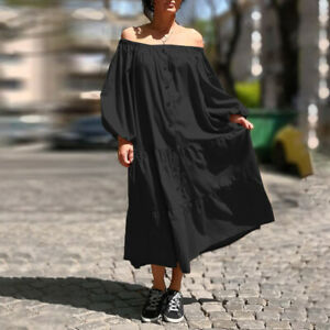 DE Damen Off Shoulder Knopf Kleid Hemdkleid Maxi Freizeit Shirtkleid Strandkleid