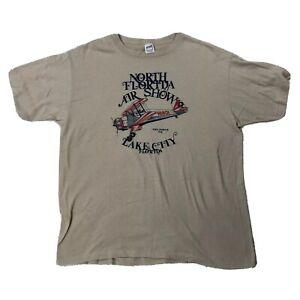 Vtg-North-Florida-Air-Show-Lake-City-Shirt-XL-Bucker-Jungmeister-Plane-Tan-Tee