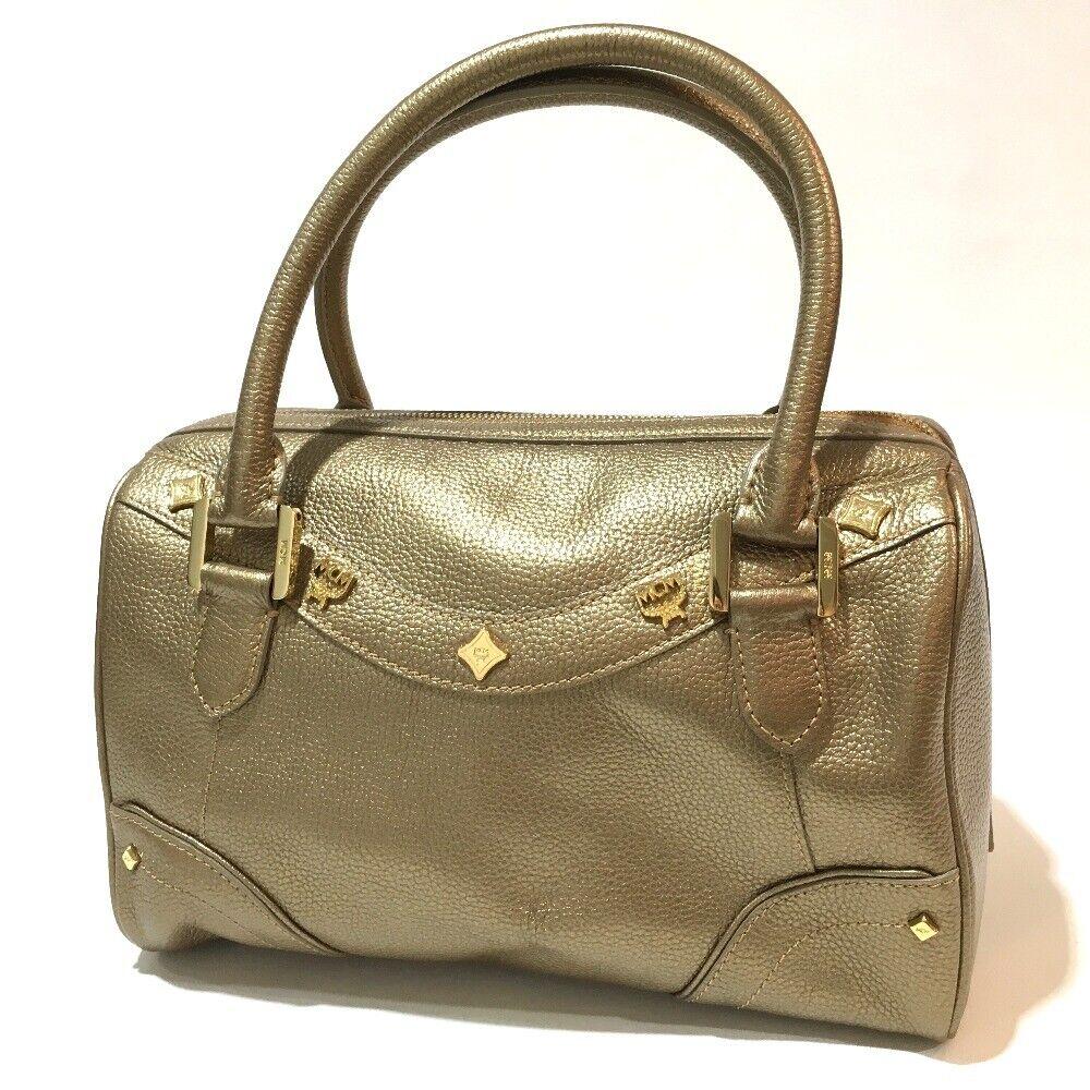 MCM Logo Studs Mini Duffle Bag Hand Bag Gold Leather