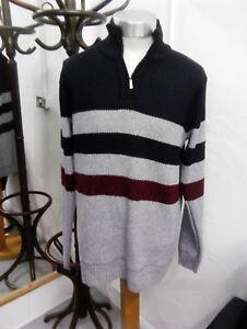 4 Raphael Valencino marine Taille bleu 5xl avec Gris vin 3xl 1 rayures Sweater 2x Zip 4xl x4EfwErn