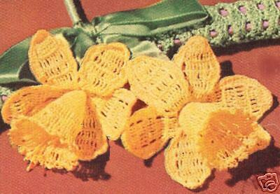 e708fce8f Vintage Crochet Daffodil Flower Corsage Pattern Floral for sale online