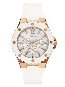 New-Guess-Women-U0452L1-Round-Dial-Rosegold-Case-Silicone-White-Band-Dress-Watch