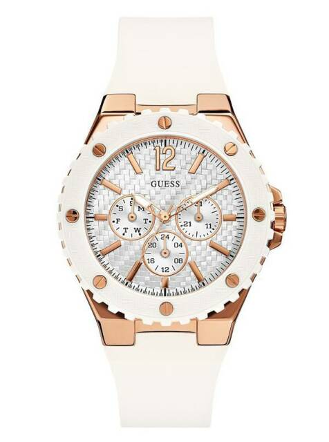 New Guess Women U0452L1 Round Multi Dial Rosegold Case Silicone White Band Watch