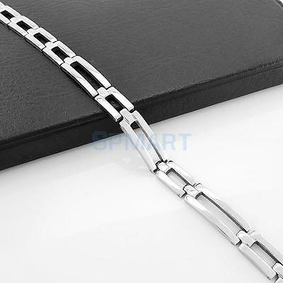 Silver Men's Punk Cool Heavy Stainless Steel Chain Cuff Bracelet Link Bangle 8mm