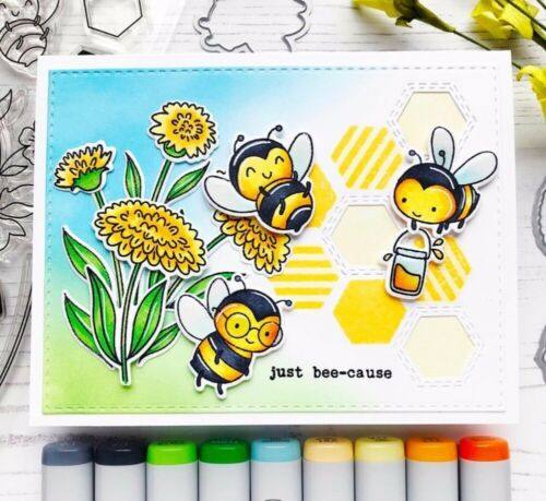 A happy little bee Clear rubber stamps//kids clear stamps and dies for Scrapbook
