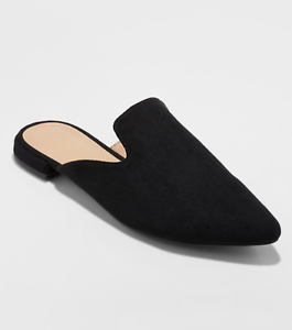 A New Day Women/'s VELMA SLIP ON BACKLESS POINTED TOE LOW HEEL MULES SHOES Black