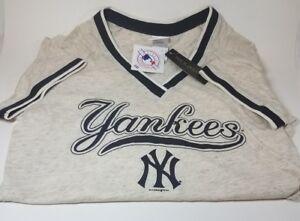 Women-039-s-MLB-Vintage-Retro-Jersey-Casual-T-Shirt-New-York-Yankees-Large