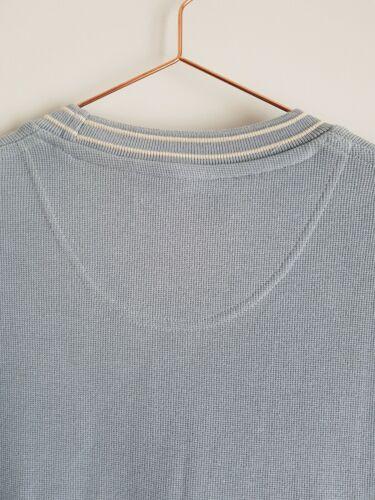 Ewmpure Classics Qualité Épais Coton T-Shirt Bleu Col Côtelé Taille S L
