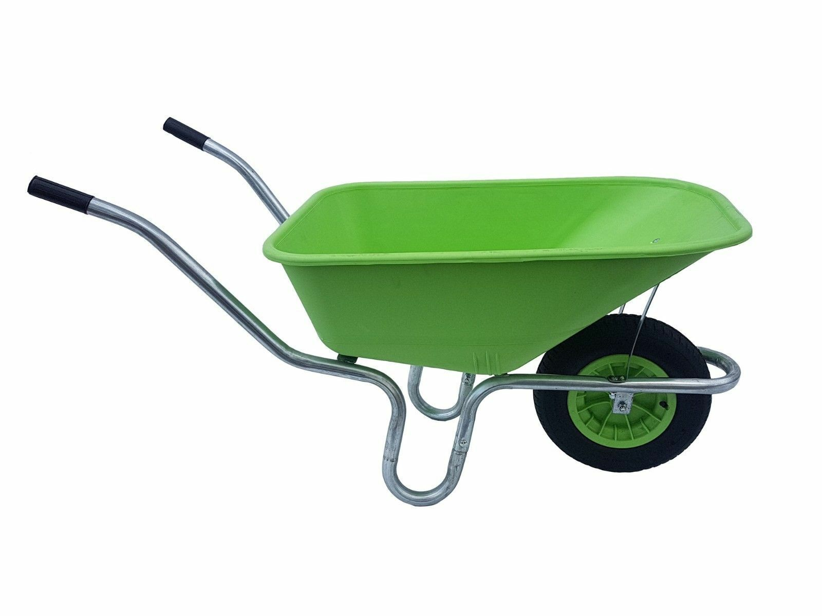 LARGE 110 LITRE WHEELBARROW WITH 14  PUNCTURE PROOF WHEEL - LIME