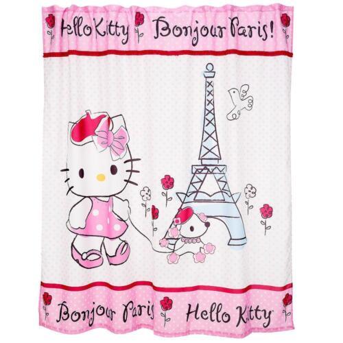 Hello Kitty BONJOUR PARIS Rhinestones Fabric Shower Curtain NIP VHTF DISC 2012