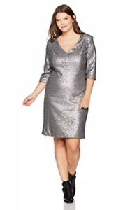 Details about Rebel Wilson X Angels Empire Waist Silver Sequin Dress Plus  Size 18W Sheath NEW