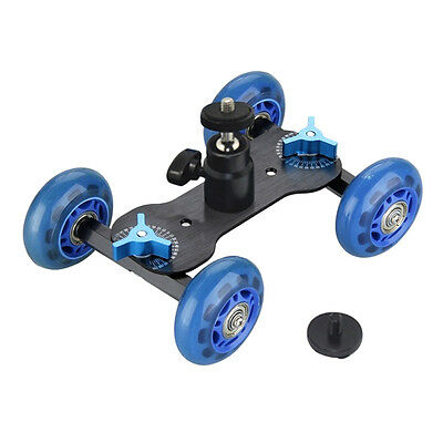 4 Wheel Desktop DSLR Camera Photography Rail Track Slider Table Dolly Car Useful