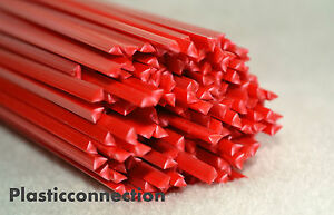 ABS Plastic welding rods 5mm red, pack of 20 pcs -triangular shape