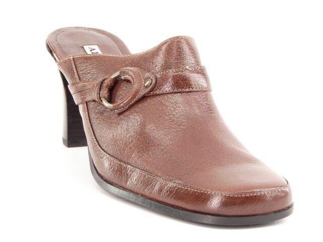 New ALFANI Damens Leder High Heel Mule Slide Sandale Pump Slip On Schuhe Sz 9 M